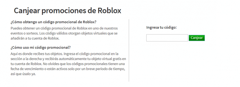 canjear códigos roblox